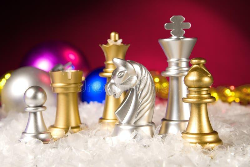 Het schaak van Kerstmis stock foto's