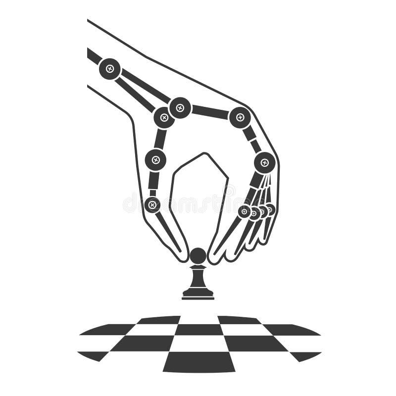 Het schaak van robotspelen Kunstmatige intelligentie stock illustratie