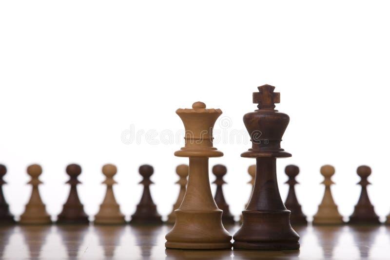 Het schaakstuk van de koning en van de koningin royalty-vrije stock foto's