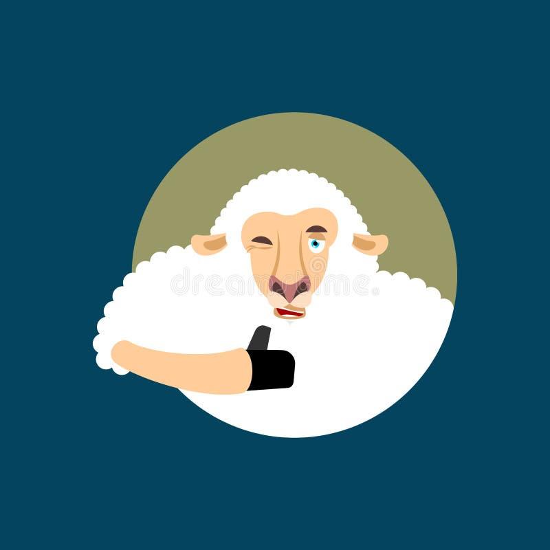 Het schaap beduimelt omhoog en knipoogt emoji Ooi gelukkige emoji Het dier van het landbouwbedrijf V royalty-vrije illustratie