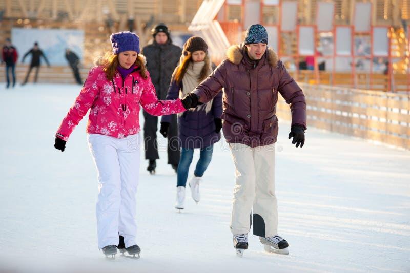 Het schaatsen piste in het Park van Gorky stock afbeelding