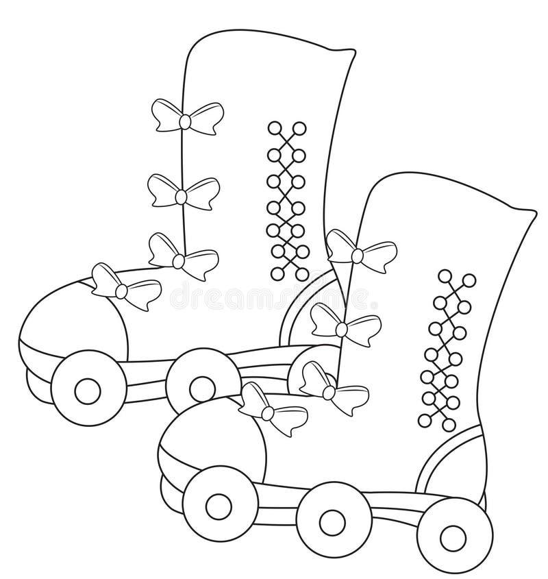 Het schaatsen schoenen die pagina kleuren stock illustratie