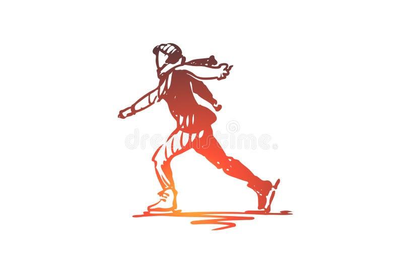 Het schaatsen, sport, ijs, vleet, actieconcept Hand getrokken geïsoleerde vector royalty-vrije illustratie