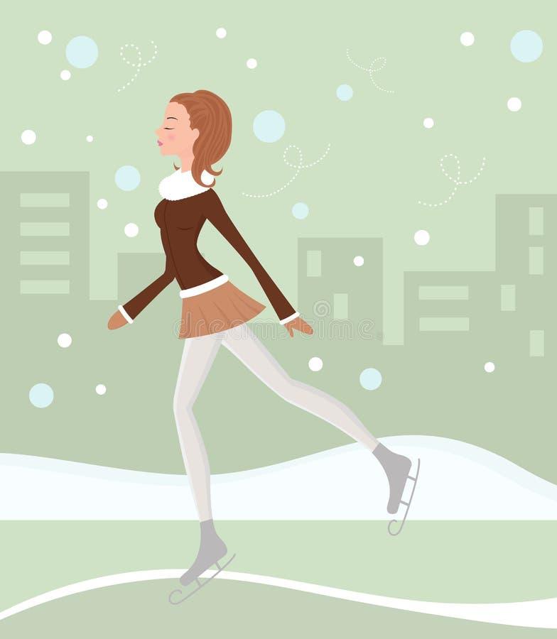 Het schaatsen van het ijs schoonheid vector illustratie