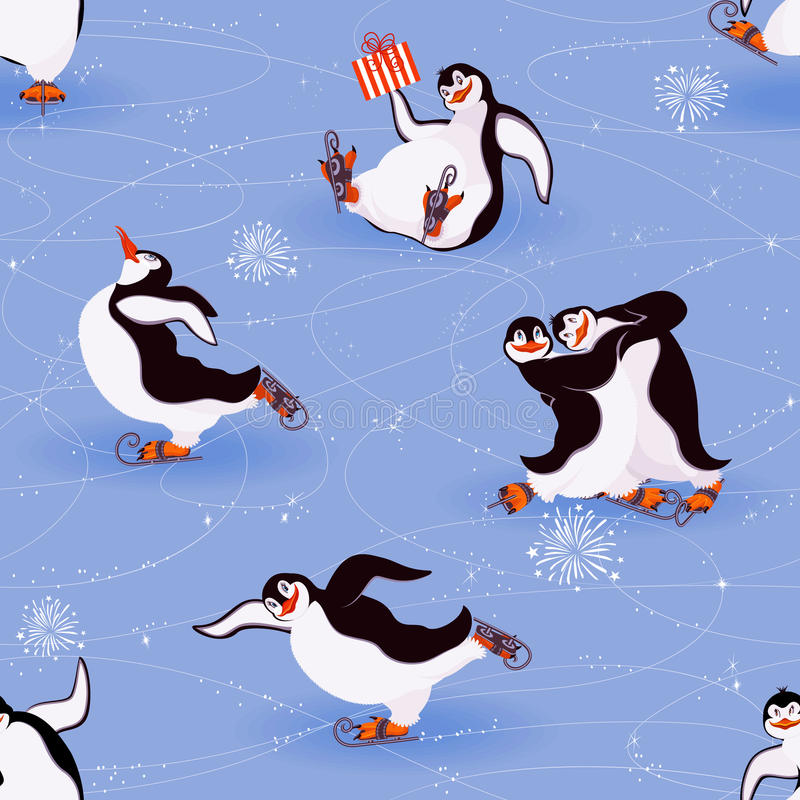 Het schaatsen van pinguïnen royalty-vrije illustratie