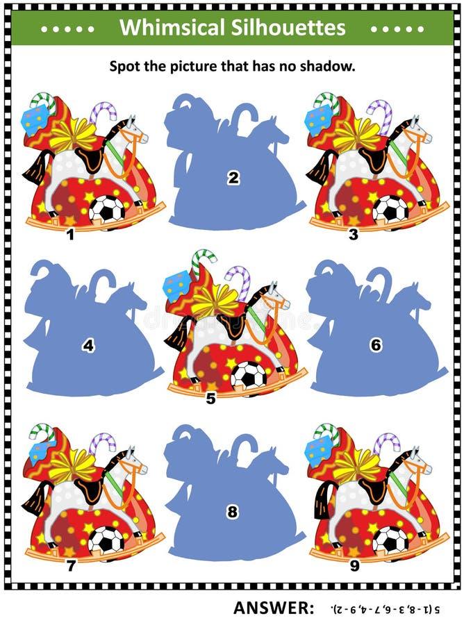 Het schaduwspel met het hoogtepunt van de Kerstman` s zak van stelt voor royalty-vrije illustratie