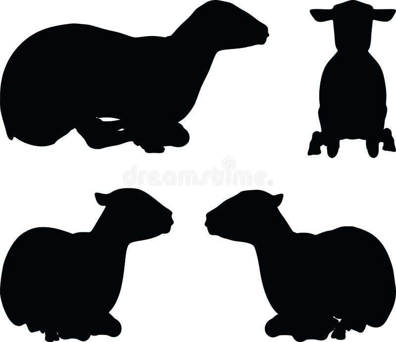 het schapensilhouet in het leggen stelt vector illustratie