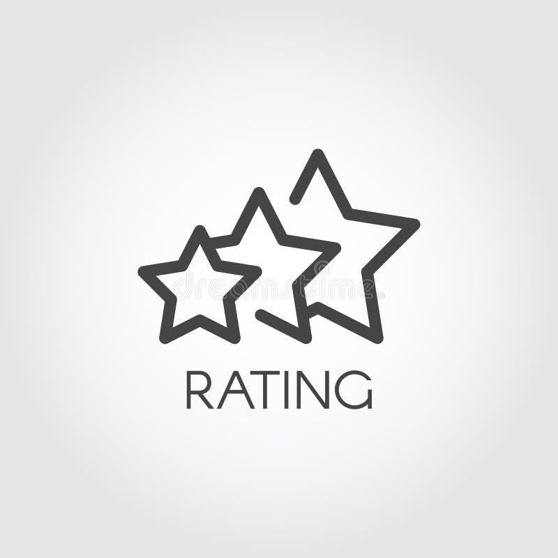 Het schatten de tekening van het sterpictogram in overzichtsstijl Evaluatie van de dienst en kwaliteitsteken Het statussymbool va royalty-vrije illustratie