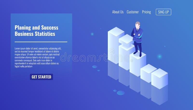 Het schaven en succesconcept, bedrijfsstatistieken, bedrijfsmensenverblijf op de groeigrafiek, bedrijfsconcept, mens in a stock illustratie