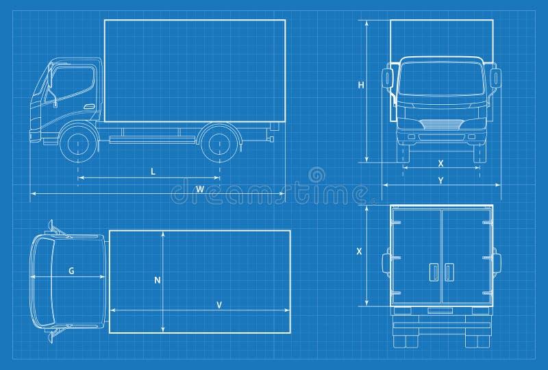 Het schema van de leveringsvrachtwagen of VAN car blauwdruk Vector illustratie Vrachtwagenauto in overzicht Bedrijfsvoertuigmalpl royalty-vrije illustratie