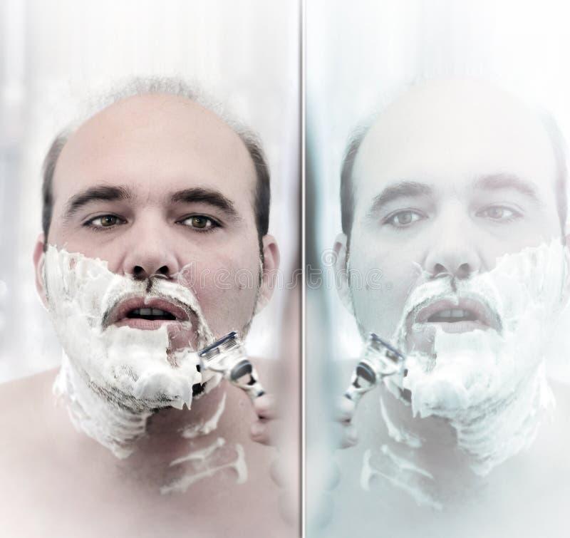 Het scheren van de mens gezicht royalty-vrije stock afbeelding