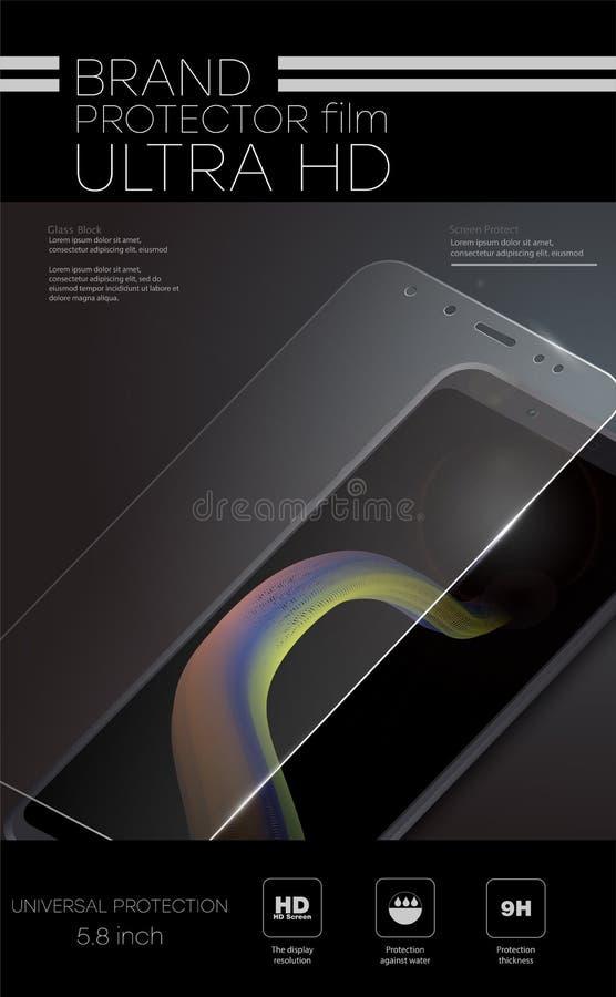 Het scherm beschermt Glas De vectorfilm van de het schermbeschermer of glasdekking Mobiele toebehoren Vector illustratie stock illustratie