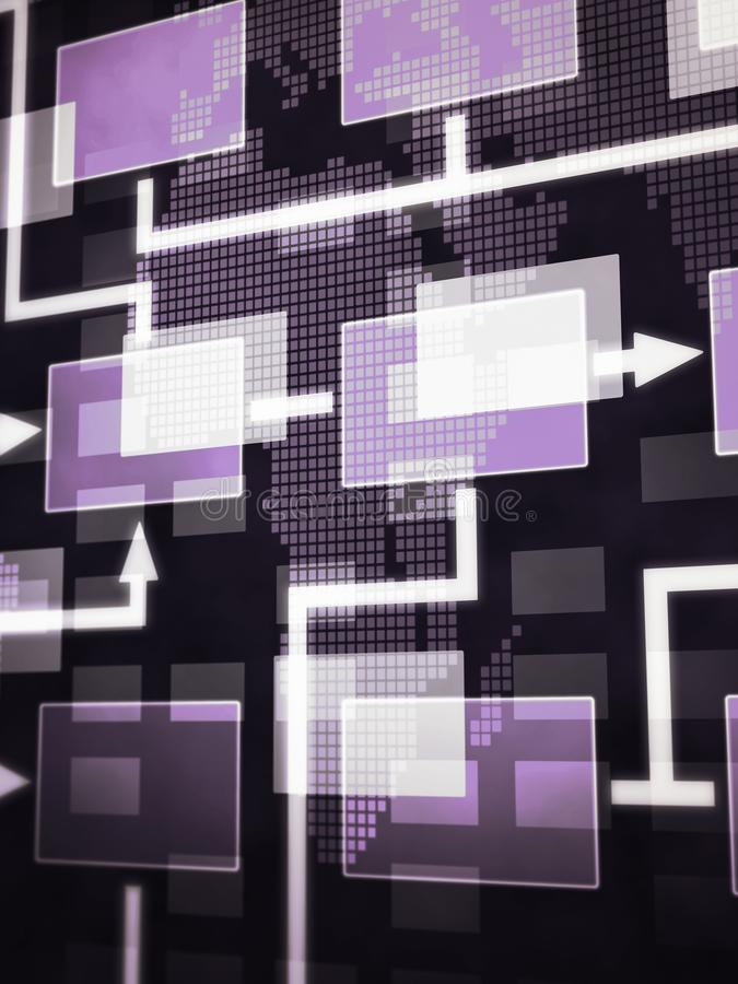 Het scherm die een abstract de grafiekdiagram tonen van de programmeringsstroom stock afbeeldingen