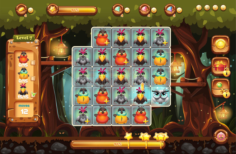 Het scherm is het speelgebied voor het spel met een magisch voorst gedeelte stock illustratie