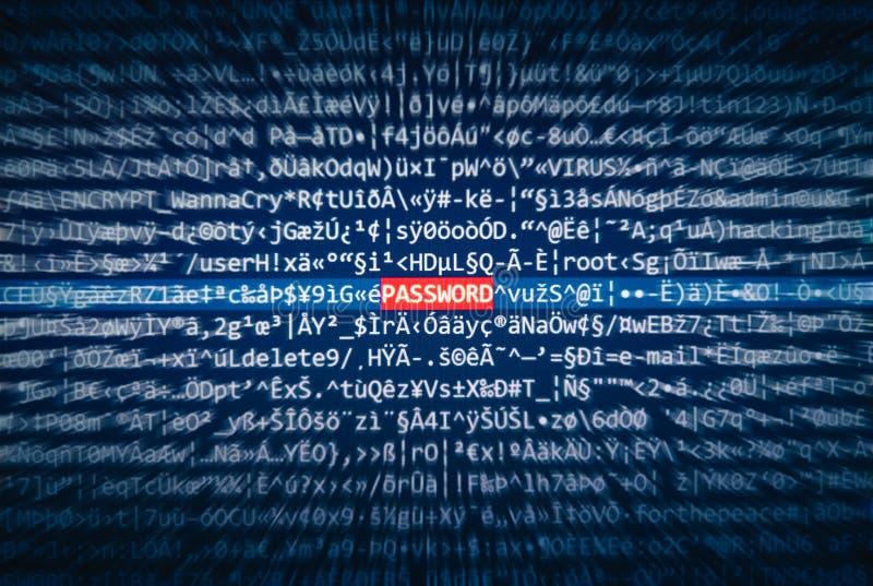Het scherm met code waar het woordwachtwoord wordt benadrukt royalty-vrije stock foto