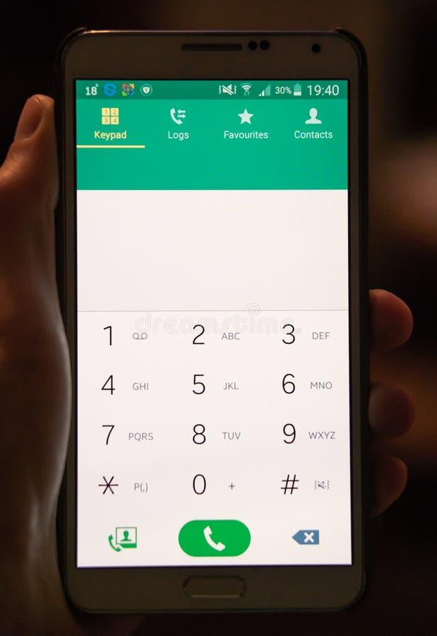 Het scherm mobiele telefoon van de aanraking, ter beschikking Leeg aantalgebied stock afbeelding