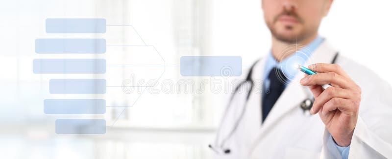 Het scherm van de artsenaanraking met een concept van de pen medisch gezondheid stock afbeeldingen