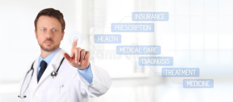 Het scherm van de artsenaanraking met vinger medische gezondheidszorg stock afbeelding