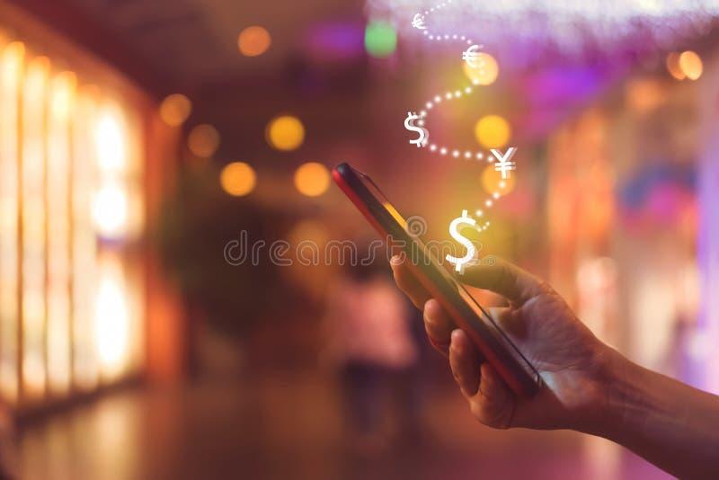 Het scherm van het de grafiekpictogram van de marktvoorraad van smartphoneachtergrond Het financiële de droomleven die van de bed stock fotografie