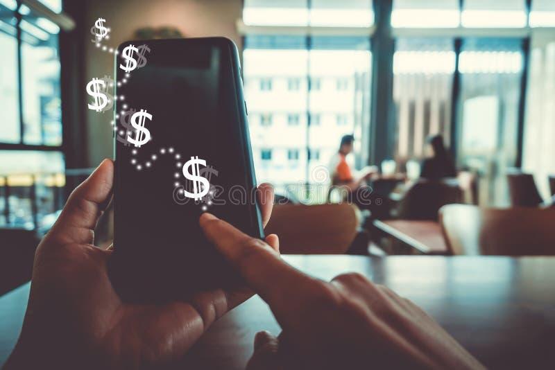 Het scherm van het de grafiekpictogram van de marktvoorraad van smartphoneachtergrond Het financiële de droomleven die van de bed royalty-vrije stock fotografie