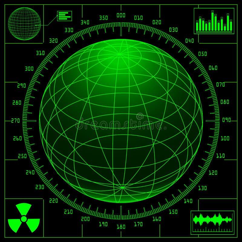 Het scherm van de radar met digitale bol stock illustratie