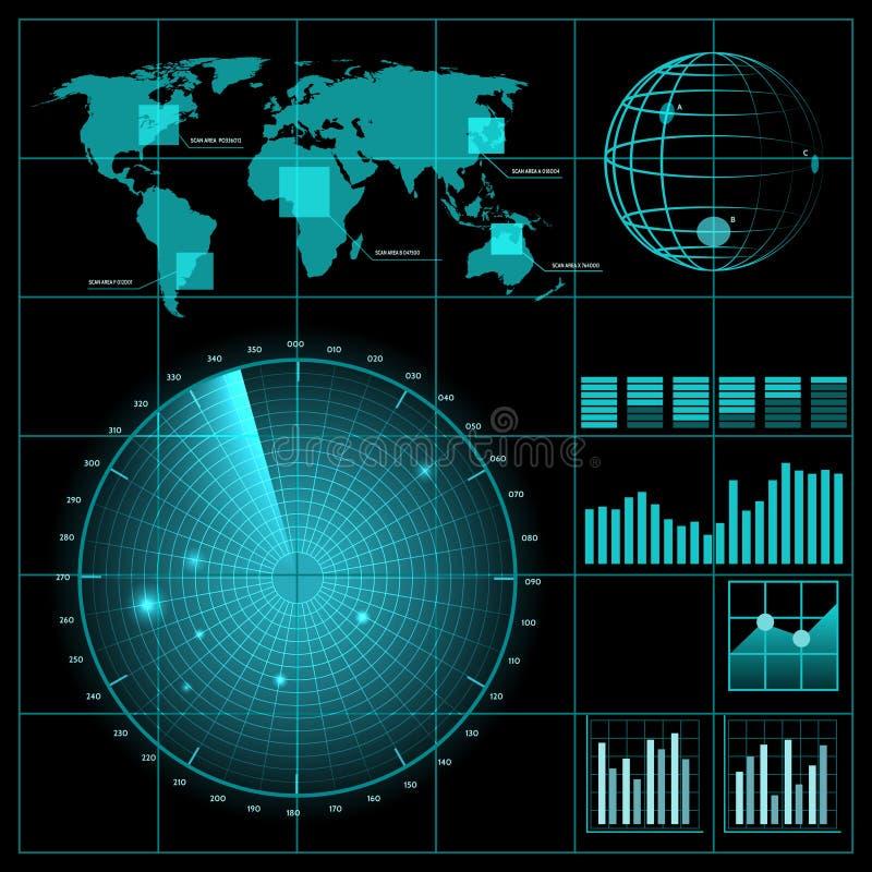 Het scherm van de radar met wereldkaart stock illustratie