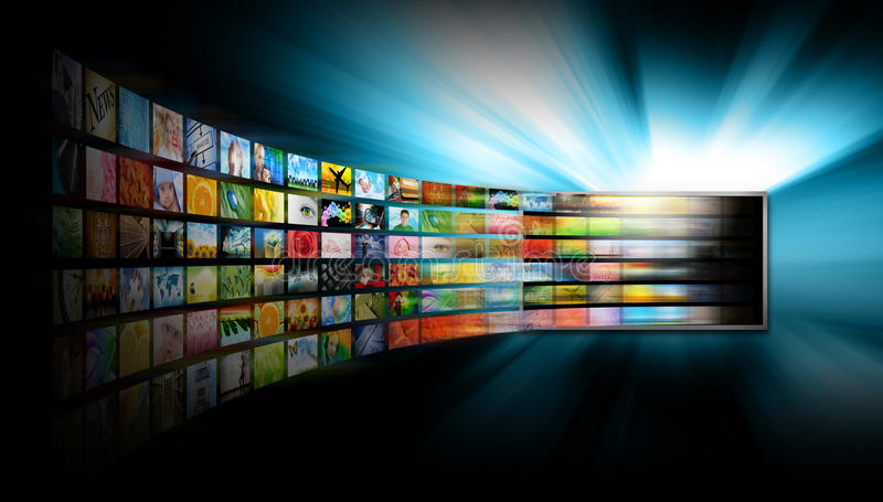 Het Scherm van de Televisie van media met het Album van het Beeld stock foto's
