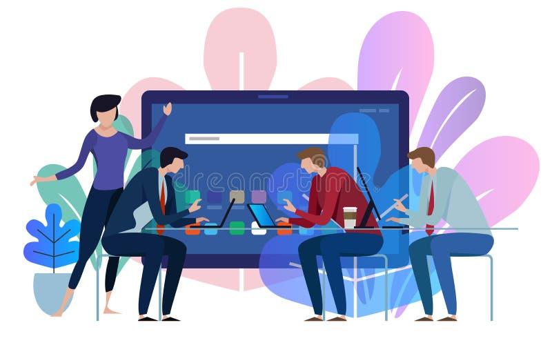 Het scherm van het tabletapparaat Het commerciële team werken die samen bij groot conferentiebureau spreken Illustratie op witte  stock illustratie
