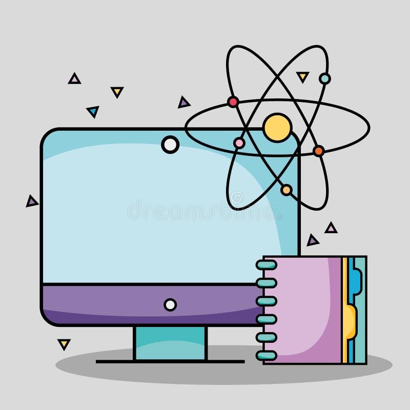 Het schermcomputer met notitieboekje en atoomschoolwerktuigen stock illustratie