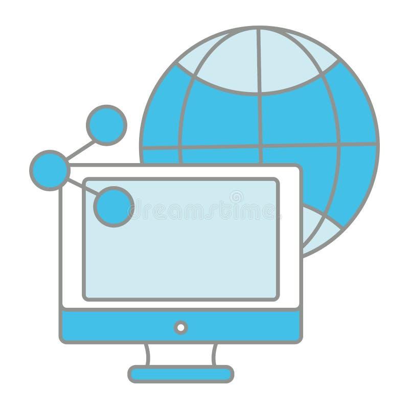 Het schermcomputer van de lijnkleur met aandeel en globale verbinding stock illustratie