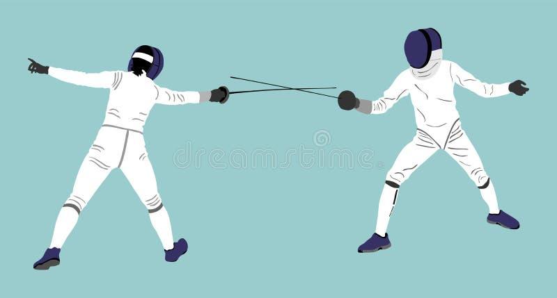 Het schermen de duelconcurrentie Zwaard het vechten Swordplay duel vector illustratie