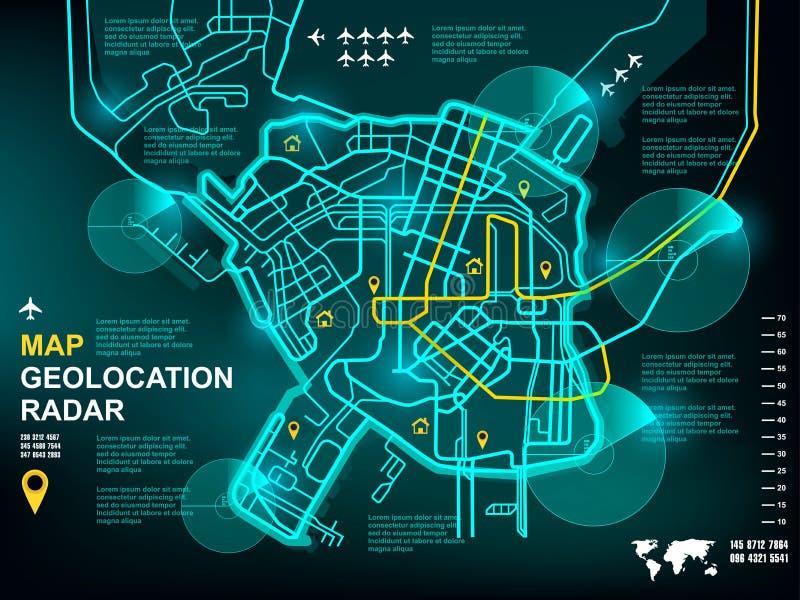 Het scherminterface van de Geolocationradar, gps het technologiescherm, plaats op de kaart door radar, navigator, zoektocht, onde royalty-vrije illustratie