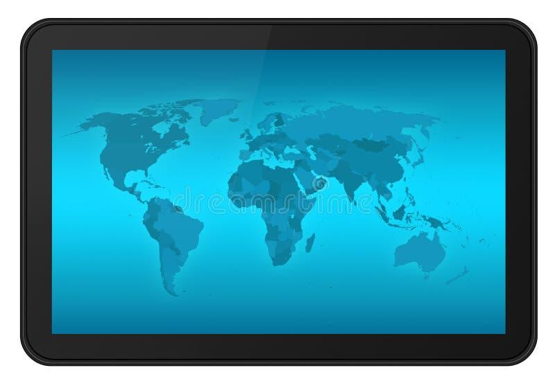 Het schermtablet van de aanraking met wereldkaart XXL stock illustratie