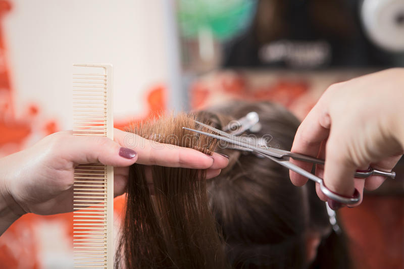 Het scherpe haar van de kapper royalty-vrije stock foto