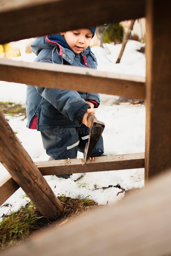 Het scherpe hout van de jongen royalty-vrije stock afbeeldingen