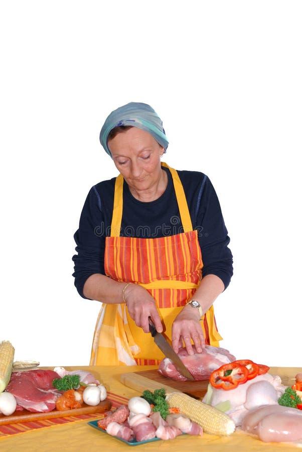 Het scherpe vlees van de huisvrouw stock foto