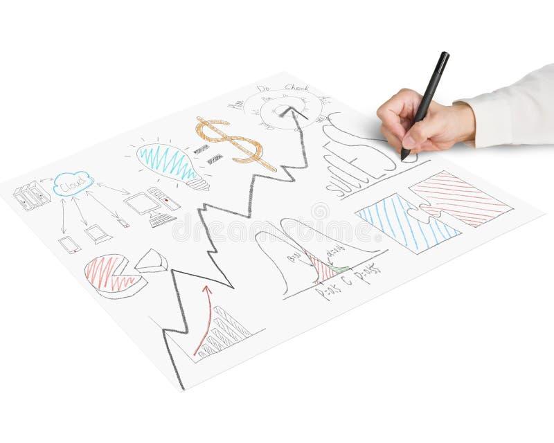 Het schetsen van bedrijfsconceptenkrabbels op papier stock afbeelding