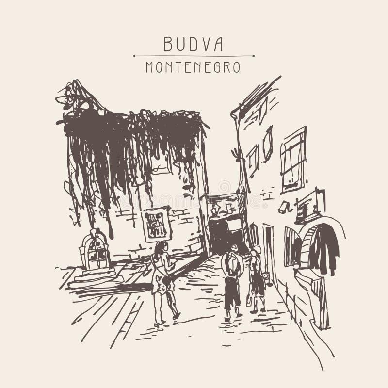 Het schetsen van de geschiedenisbouw in oude stad Budva Montenegro vector illustratie