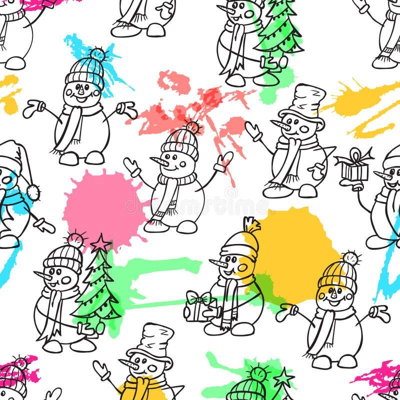 Het schetsen van hand getrokken stijl leuke sneeuw bemant De vectorillustratie van Kerstmis Sneeuwmannen met giftenhoeden en sjaa vector illustratie