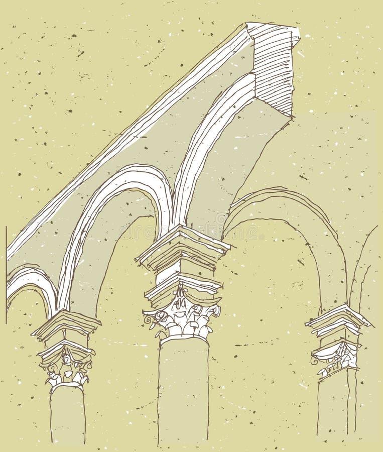 Het schetsen van Historische Architectuur in Italië stock illustratie