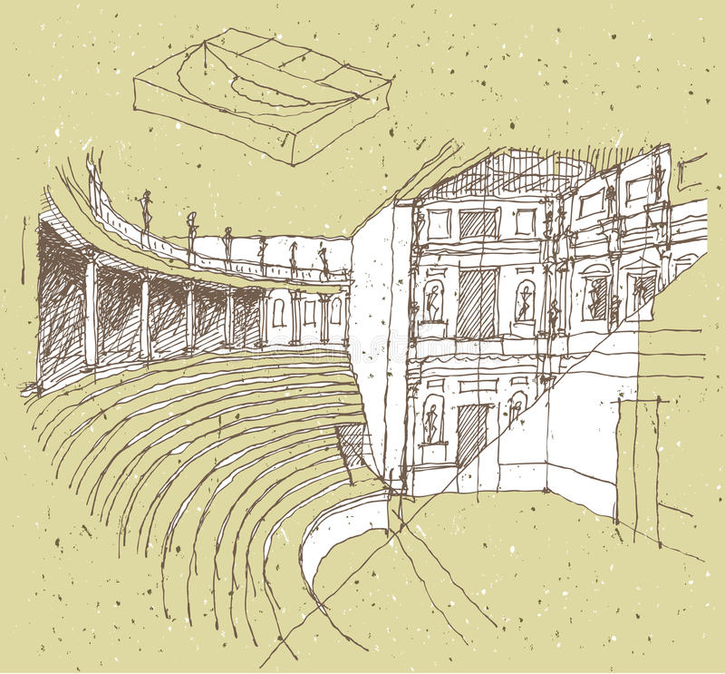 Het schetsen van Historische Architectuur in Italië vector illustratie