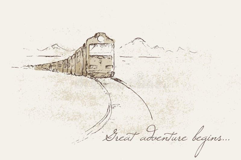 Het schetsen van illustratie van treinhaar vector illustratie
