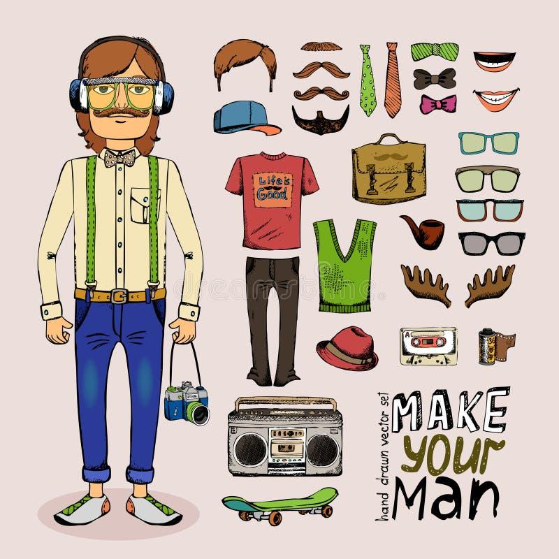 Het schetsmannetje hipster plaatste royalty-vrije illustratie