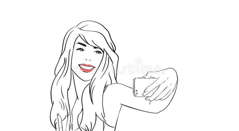 Het schetsmeisje neemt Selfie-Foto op Cel Slimme Telefoon vector illustratie