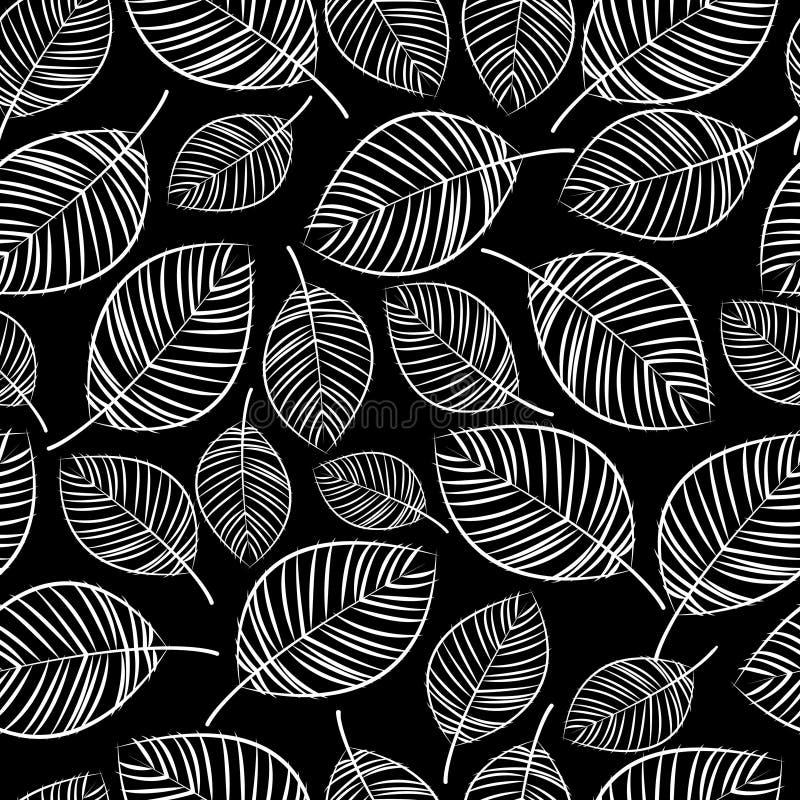 Het schetswit verlaat naadloos patroon stock illustratie