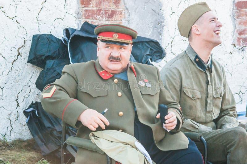 Het schieten van de film` Ilyinsky grens ` in het Kaluga-gebied van Rusland royalty-vrije stock foto