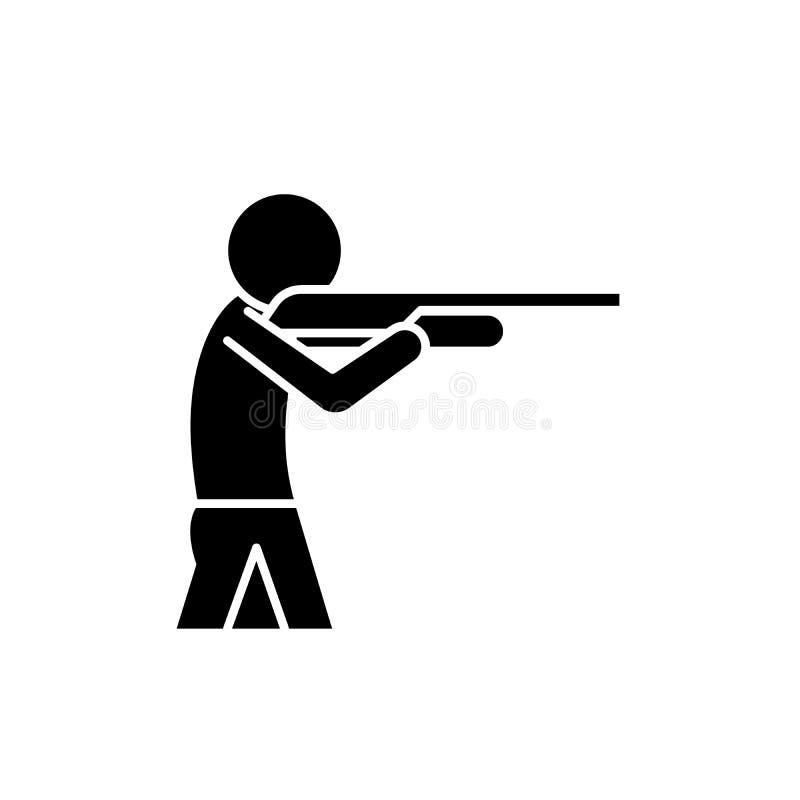Het schieten van een kanon zwart pictogram, vectorteken op geïsoleerde achtergrond Het schieten van een symbool van het kanonconc vector illustratie