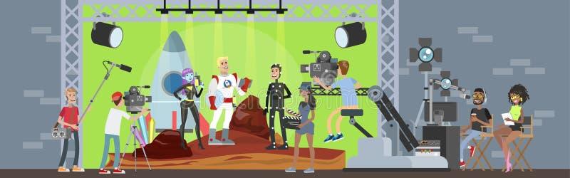 Het schieten van fantastische film met kapitein van ruimteschip royalty-vrije illustratie