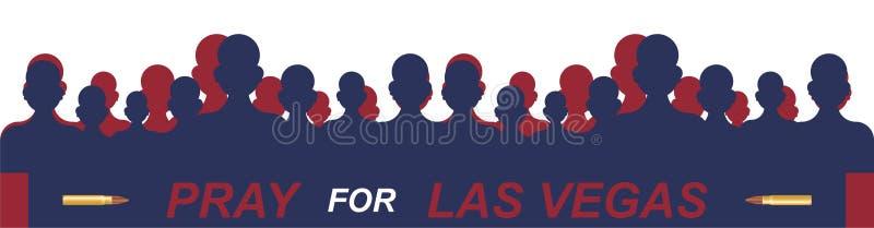 Het Schieten van Las Vegas Concept terrorisme en het geheugen van de doden vector illustratie
