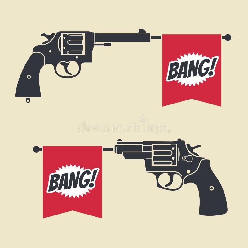 Het schieten van stuk speelgoed kanonpistool met het vectorpictogram van de klapvlag vector illustratie